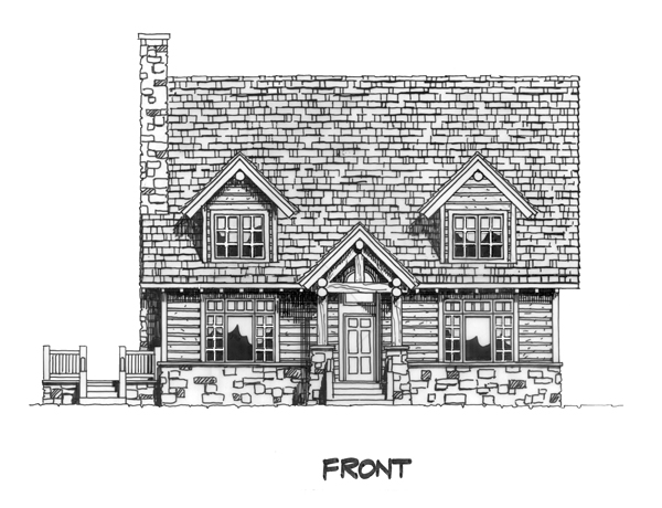 Cabin, Cape Cod, Country House Plan 43206 with 3 Beds, 3 Baths Picture 2