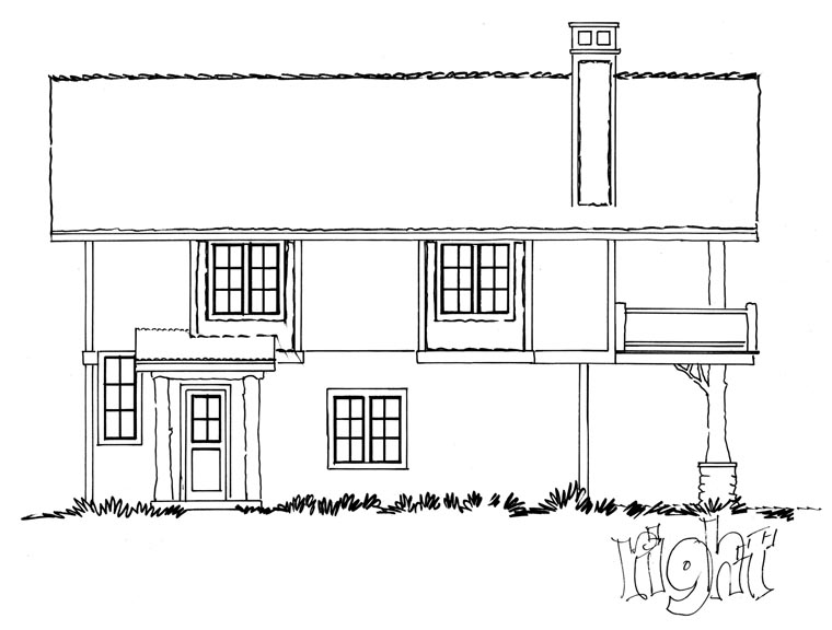 Cabin, Log House Plan 43209 with 1 Beds, 1 Baths, 2 Car Garage Picture 2