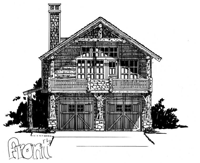 Cabin, Log House Plan 43209 with 1 Beds, 1 Baths, 2 Car Garage Picture 3