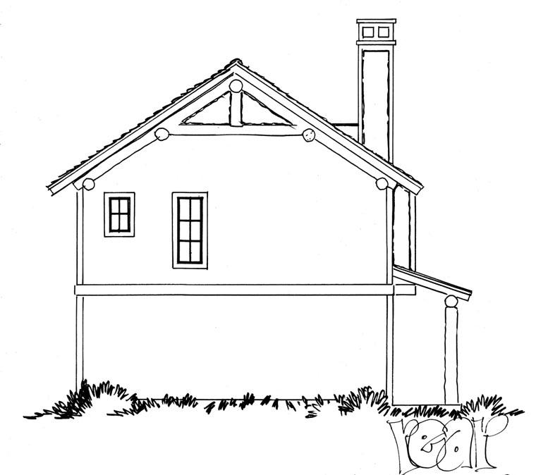 Cabin, Log House Plan 43209 with 1 Beds, 1 Baths, 2 Car Garage Rear Elevation
