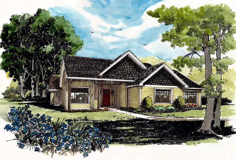 Craftsman, Ranch House Plan 43210 with 3 Beds, 2 Baths Elevation
