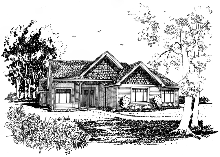 Craftsman, Ranch House Plan 43210 with 3 Beds, 2 Baths Picture 4