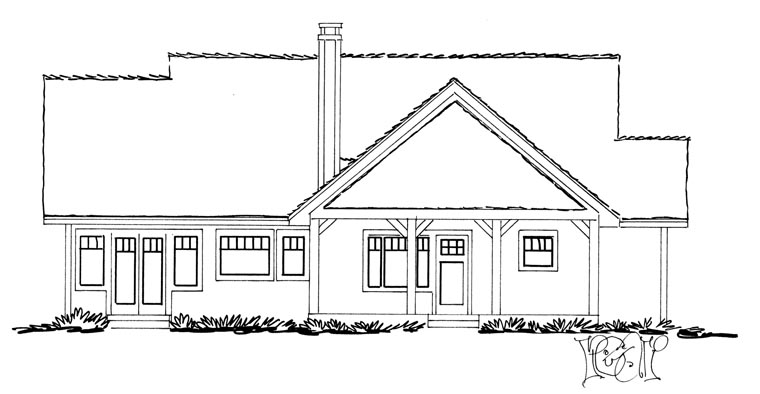 Craftsman, Ranch House Plan 43210 with 3 Beds, 2 Baths Rear Elevation