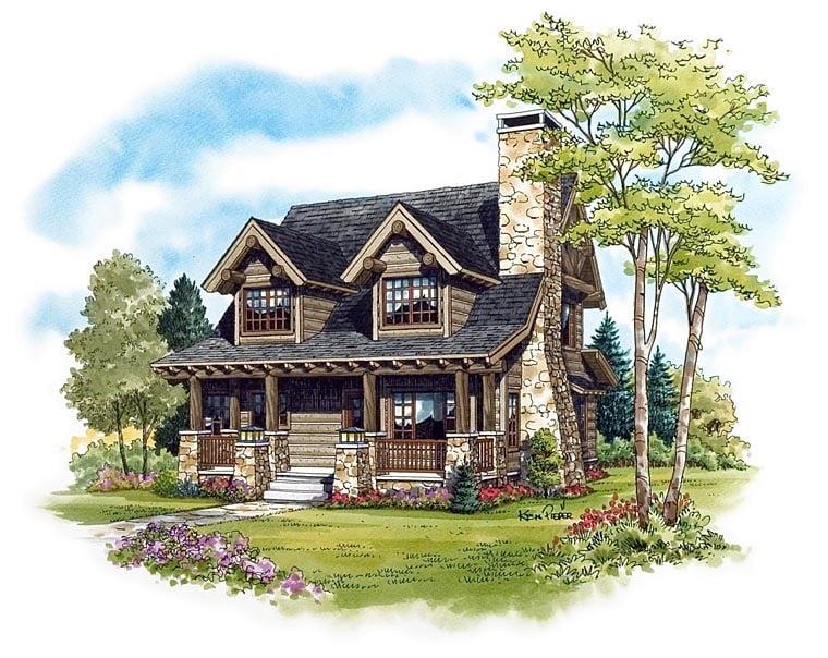 Cabin, Craftsman, Log House Plan 43212 with 2 Beds, 2 Baths Elevation