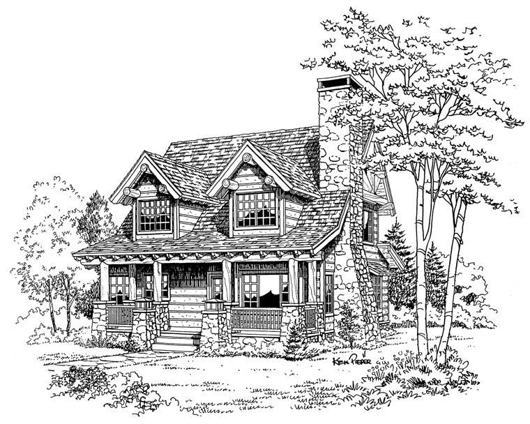 Cabin, Craftsman, Log House Plan 43212 with 2 Beds, 2 Baths Picture 4