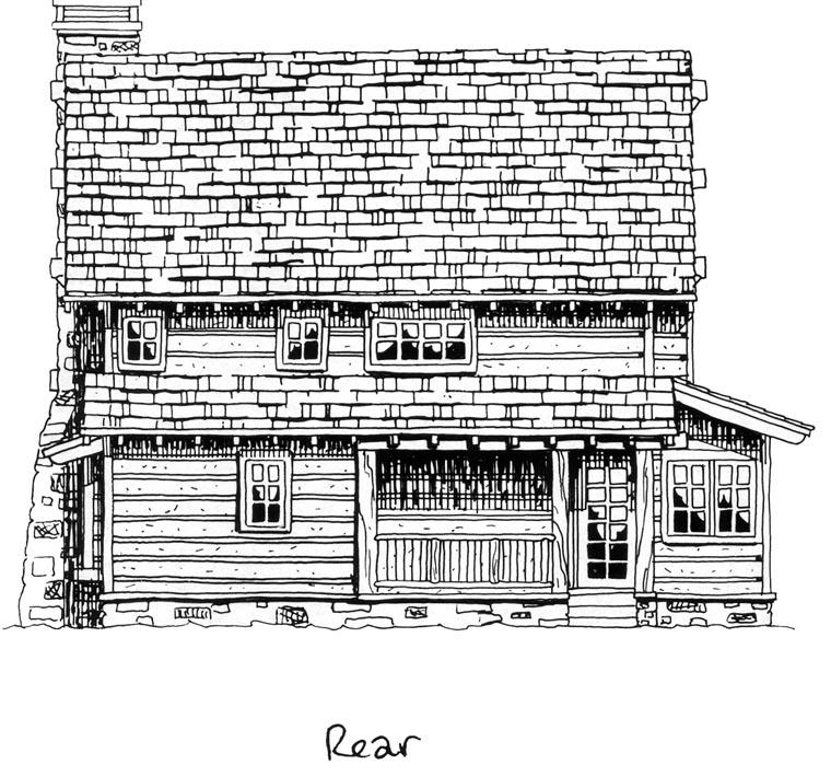 Cabin, Craftsman, Log House Plan 43212 with 2 Beds, 2 Baths Rear Elevation