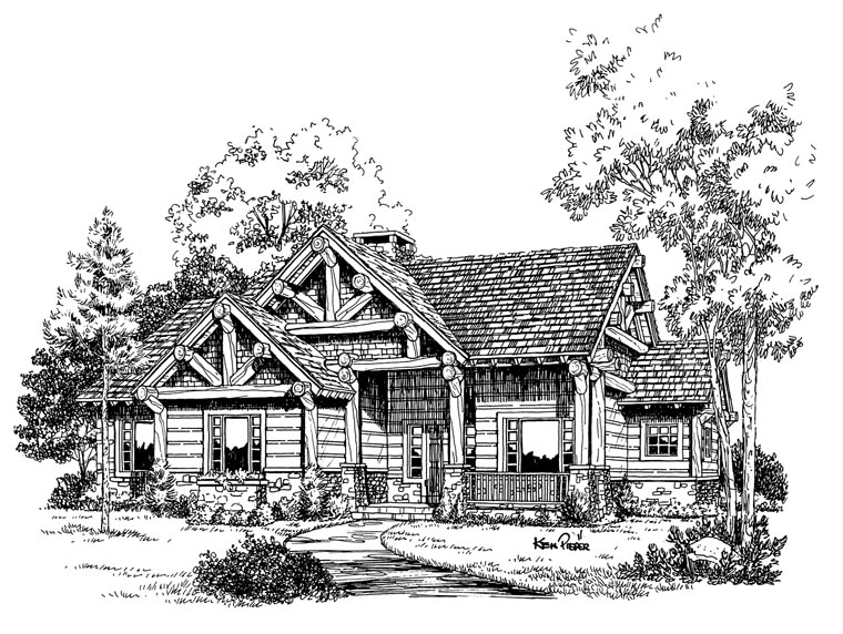 Cabin, Craftsman, Log House Plan 43214 with 3 Beds, 2 Baths Picture 4