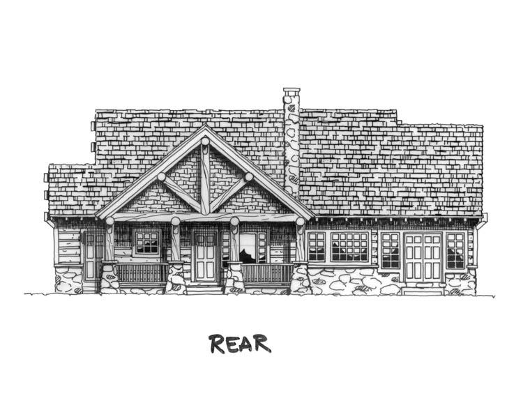 Cabin, Craftsman, Log House Plan 43214 with 3 Beds, 2 Baths Rear Elevation