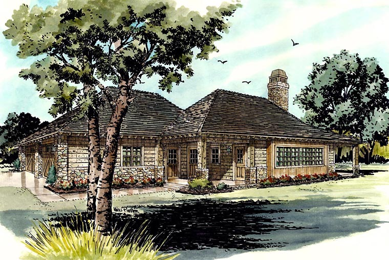 Country, Ranch House Plan 43215 with 1 Beds, 1 Baths, 2 Car Garage Front Elevation