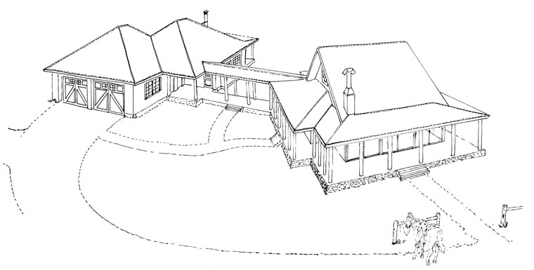 Country, Ranch House Plan 43215 with 1 Beds, 1 Baths, 2 Car Garage Picture 4