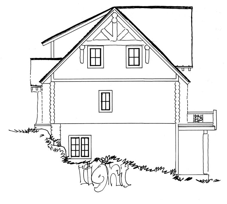 Cabin, Log House Plan 43217 with 3 Beds, 3 Baths, 2 Car Garage Picture 2
