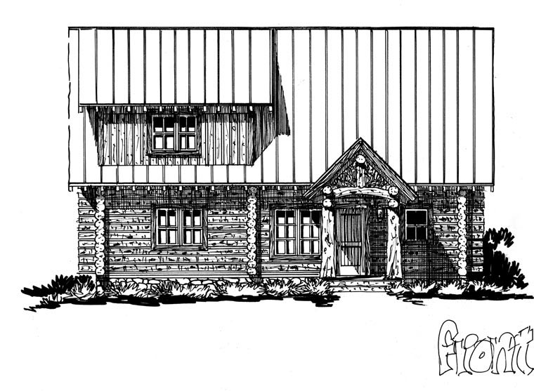 Cabin, Log House Plan 43217 with 3 Beds, 3 Baths, 2 Car Garage Picture 3