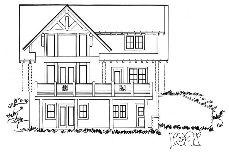 Cabin, Log House Plan 43217 with 3 Beds, 3 Baths, 2 Car Garage Rear Elevation