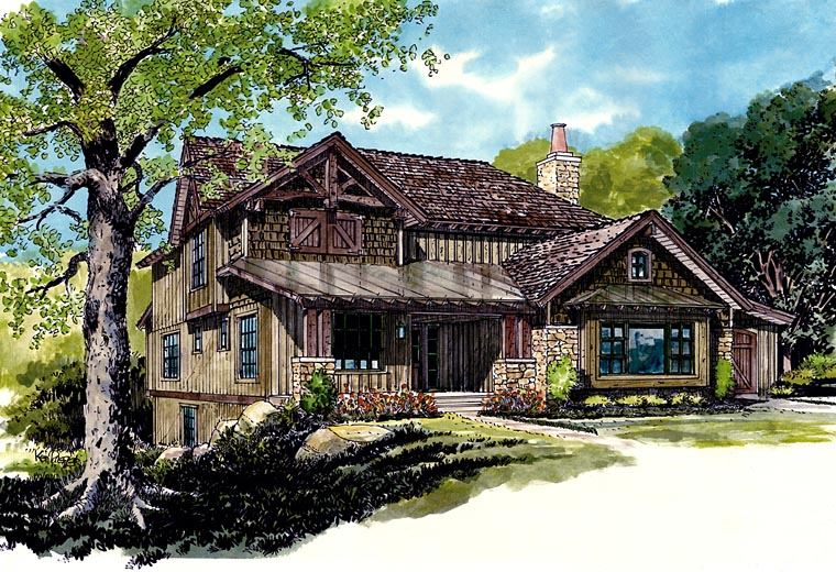 Bungalow, Cottage, Country, Craftsman House Plan 43223 with 5 Beds, 4 Baths, 2 Car Garage Elevation