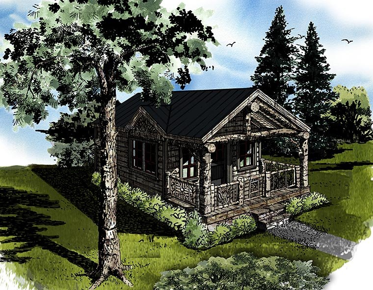 Cabin, Country, Log House Plan 43230 with 1 Beds, 1 Baths Front Elevation