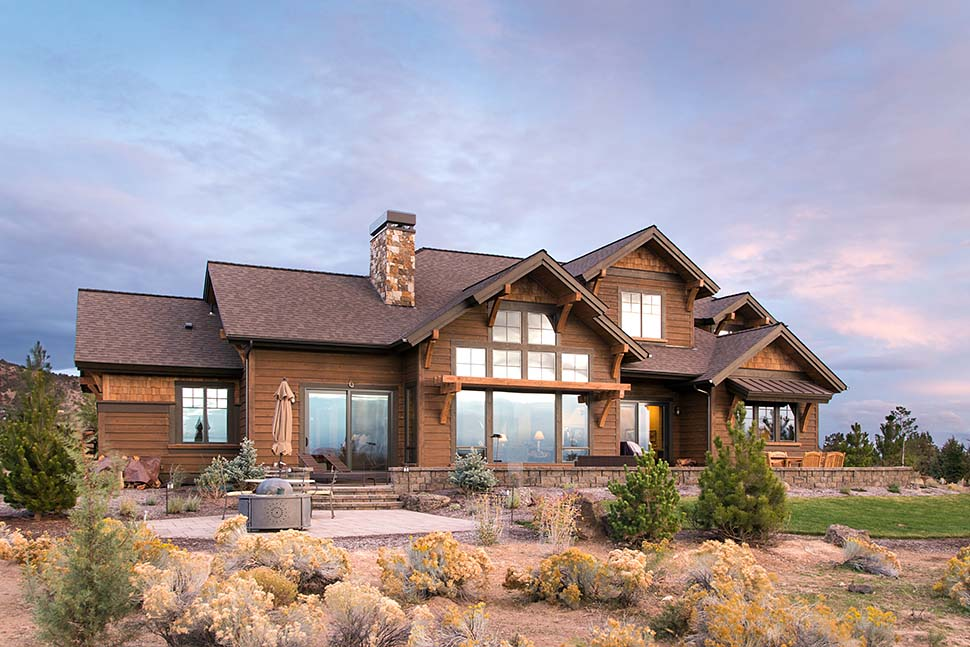 Country, Craftsman House Plan 43301 with 3 Beds, 5 Baths, 3 Car Garage Rear Elevation