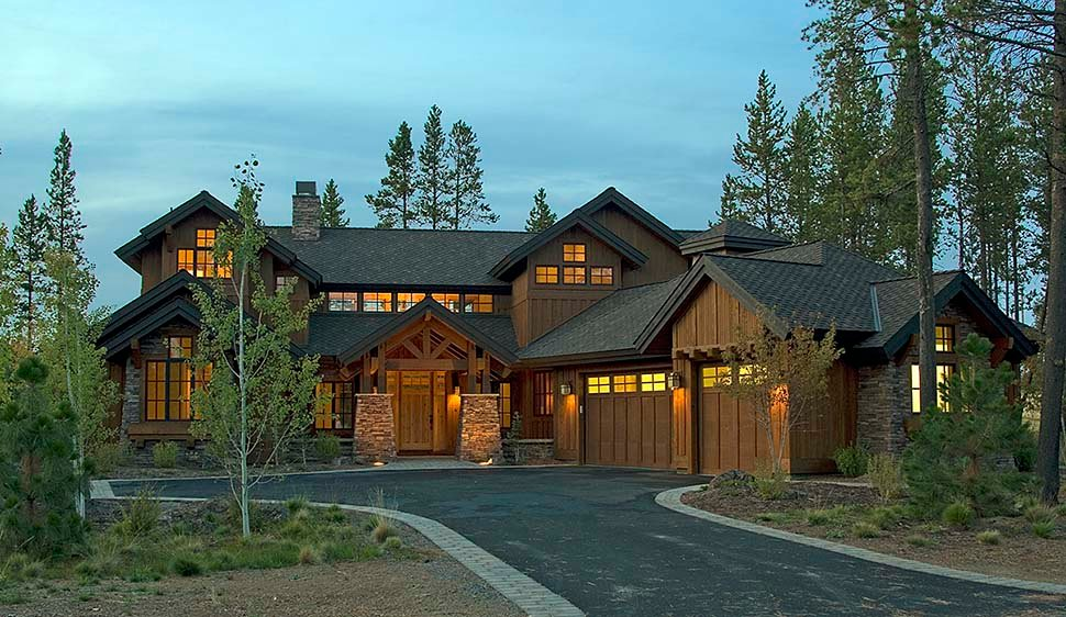 Craftsman, Modern, Prairie, Tuscan House Plan 43307 with 4 Beds, 5 Baths, 3 Car Garage Elevation