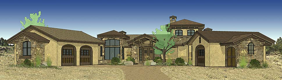 Tuscan House Plan 43308 with 3 Beds, 4 Baths, 3 Car Garage Elevation