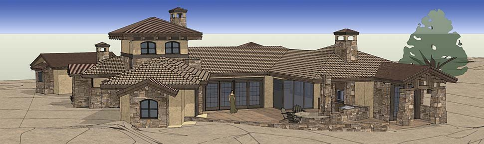Tuscan House Plan 43308 with 3 Beds, 4 Baths, 3 Car Garage Rear Elevation
