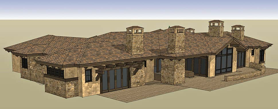 Tuscan House Plan 43309 with 3 Beds, 4 Baths, 3 Car Garage Picture 2
