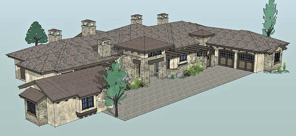 Tuscan House Plan 43309 with 3 Beds, 4 Baths, 3 Car Garage Picture 3