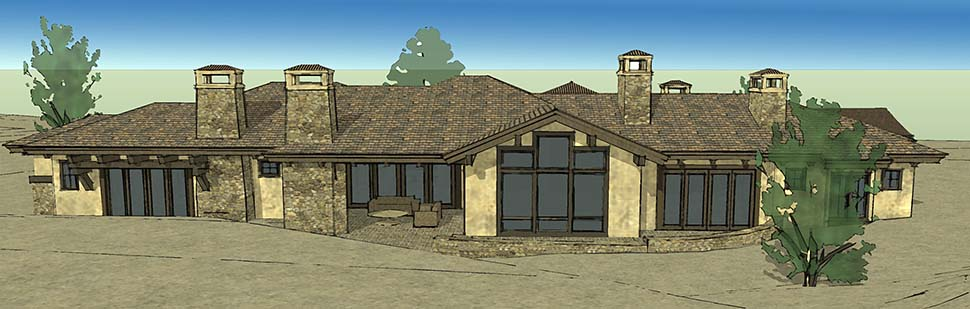 Tuscan House Plan 43309 with 3 Beds, 4 Baths, 3 Car Garage Rear Elevation
