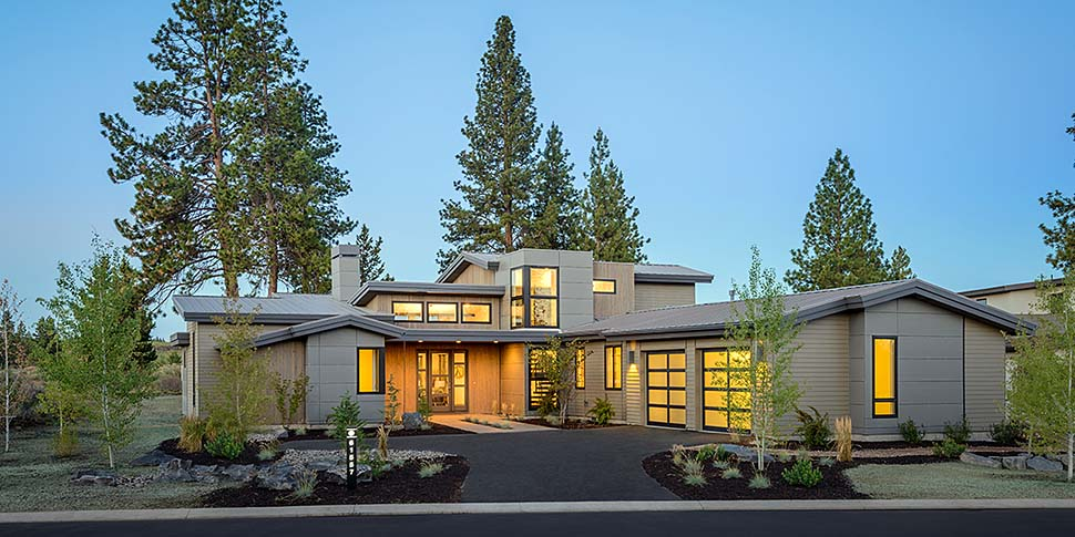Contemporary, Modern House Plan 43315 with 5 Beds, 4 Baths, 2 Car Garage Elevation