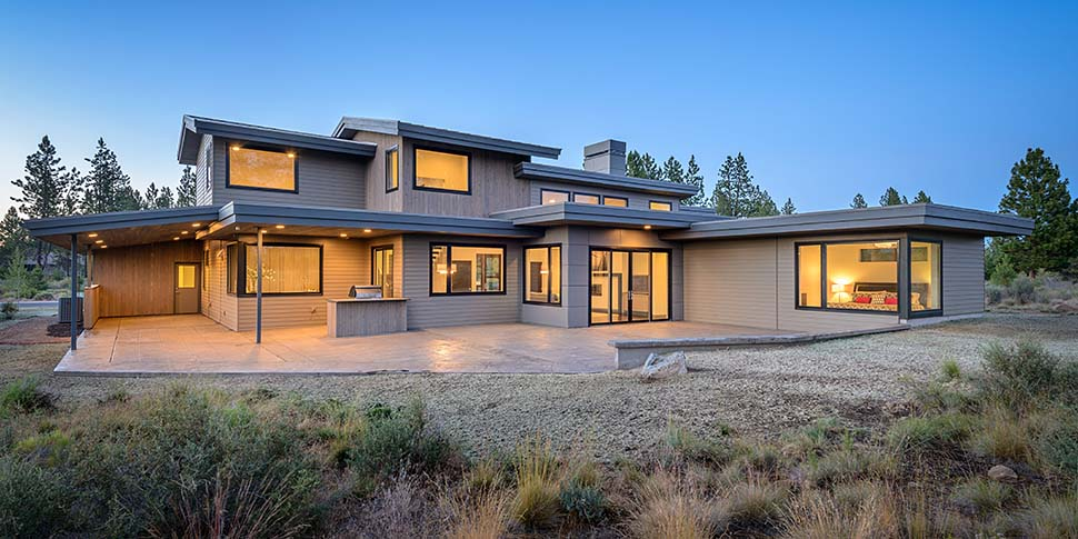 Contemporary, Modern House Plan 43315 with 5 Beds, 4 Baths, 2 Car Garage Rear Elevation