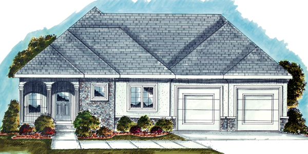 Mediterranean, One-Story House Plan 44029 with 2 Beds, 2 Baths, 2 Car Garage Elevation
