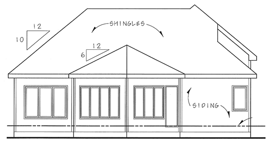 European, One-Story, Traditional House Plan 44036 with 2 Beds, 2 Baths, 2 Car Garage Rear Elevation