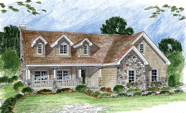 Cape Cod, Traditional House Plan 44054 with 2 Beds, 3 Baths, 3 Car Garage Front Elevation
