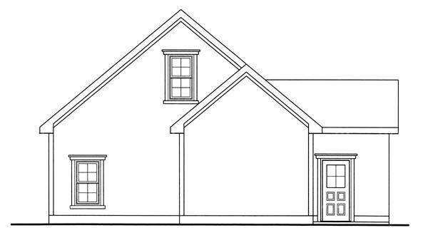 1 Car Garage Plan 44059 Rear Elevation