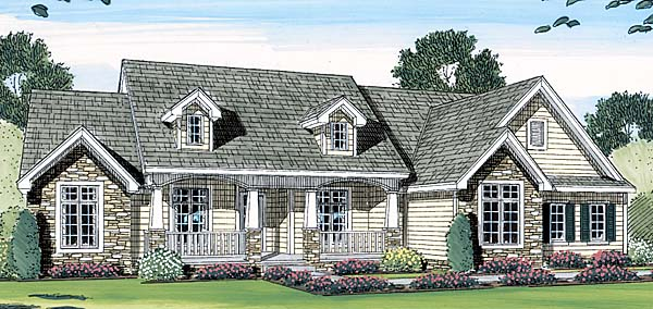 Bungalow, Cape Cod, Country, Farmhouse House Plan 44061 with 3 Beds, 3 Baths, 3 Car Garage Elevation