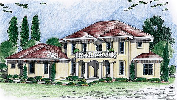 Florida, Mediterranean, Southwest House Plan 44075 with 4 Beds, 3 Baths, 3 Car Garage Front Elevation