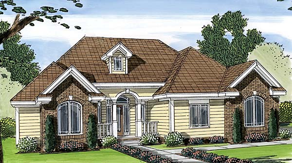 One-Story, Traditional House Plan 44080 with 2 Beds, 2 Baths, 2 Car Garage Elevation