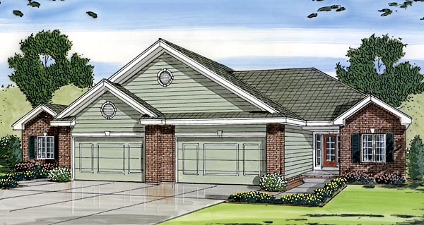 One-Story, Traditional Multi-Family Plan 44082 with 4 Beds, 4 Baths, 4 Car Garage Elevation