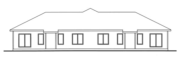 One-Story, Traditional Multi-Family Plan 44082 with 4 Beds, 4 Baths, 4 Car Garage Rear Elevation