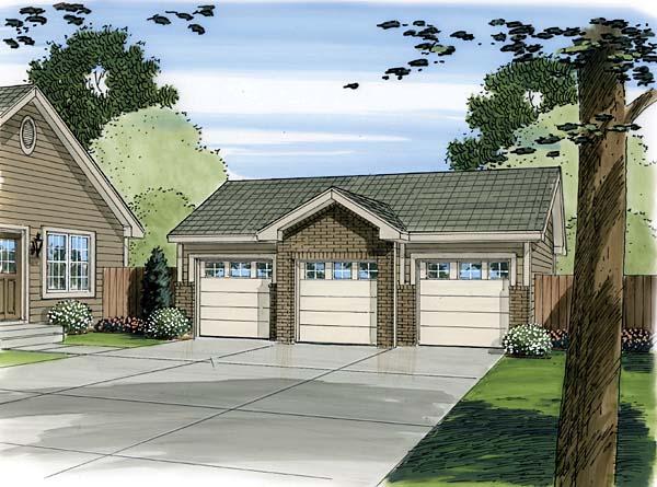 3 Car Garage Plan 44087 Front Elevation