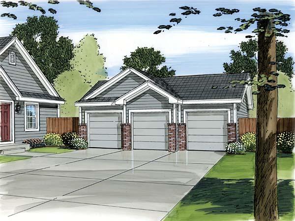 3 Car Garage Plan 44088 Front Elevation