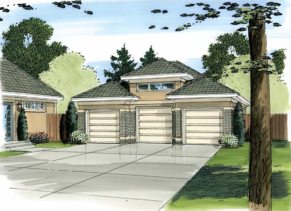 3 Car Garage Plan 44089 Front Elevation