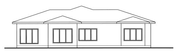 Florida, Mediterranean, One-Story, Southwest House Plan 44091 with 3 Beds, 2 Baths, 2 Car Garage Rear Elevation