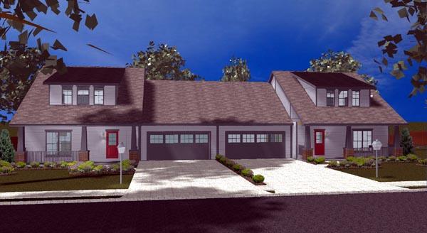 Craftsman Multi-Family Plan 44102 with 6 Beds, 6 Baths, 4 Car Garage Elevation