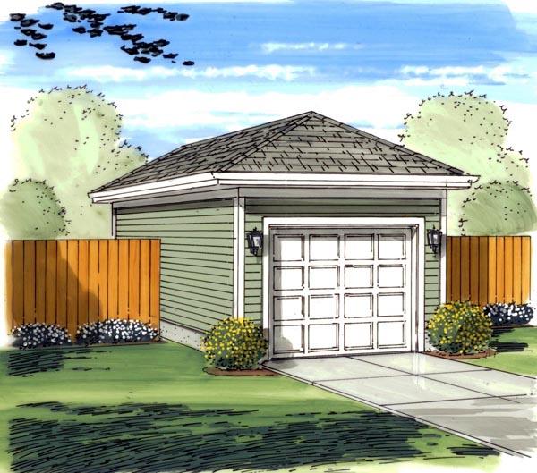 1 Car Garage Plan 44120 Front Elevation