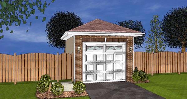 1 Car Garage Plan 44122 Elevation