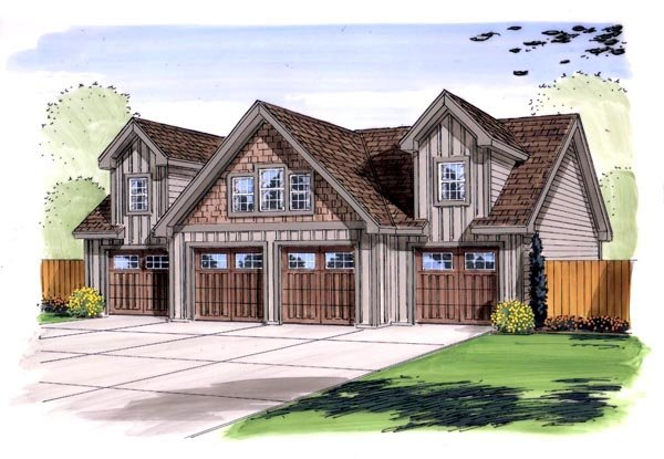 4 Car Garage Plan 44143 Elevation