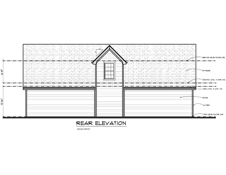 4 Car Garage Plan 44143 Rear Elevation
