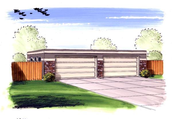 Traditional 4 Car Garage Plan 44146 Elevation