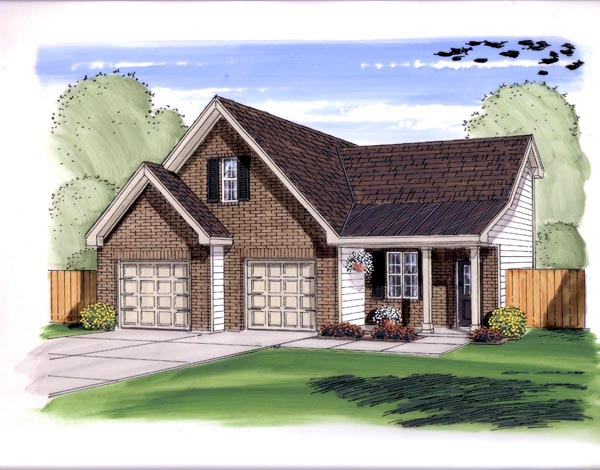 Farmhouse, Traditional 2 Car Garage Plan 44149 Elevation