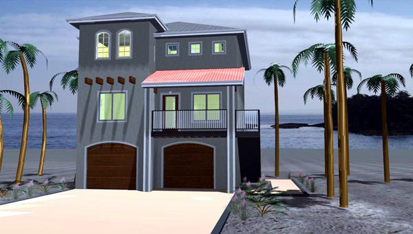 Coastal House Plan 44170 with 3 Beds, 3 Baths, 2 Car Garage Elevation