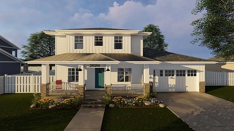 Cottage, Country, Southwest House Plan 44178 with 3 Beds, 3 Baths, 2 Car Garage Elevation